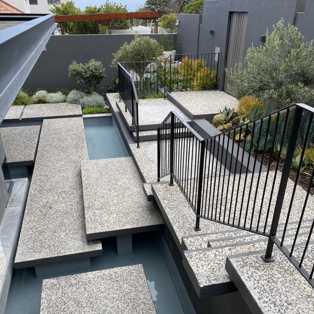 aggregate concrete entrance water feature